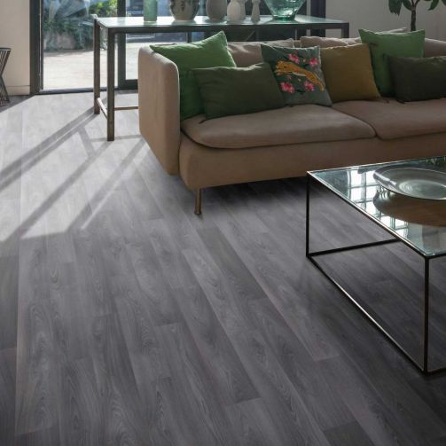 Supreme Sheet Vinyl Flooring Grey Wood / Rose Gold Tones