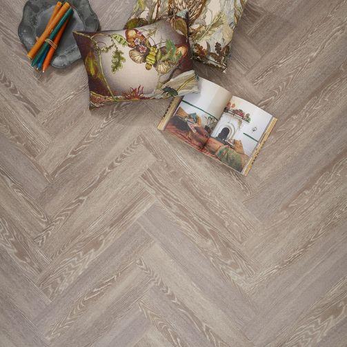 Signature Select Parquet Herringbone Luxury Vinyl Flooring Grey Mountain Oak SSP-022
