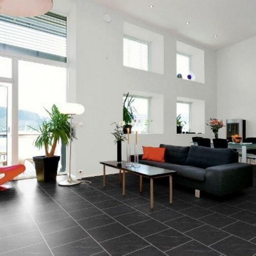 Naturelle Click Vinyl Flooring Polished Black Slate