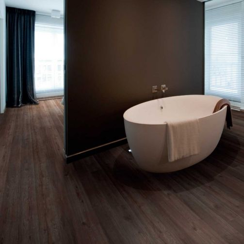 Naturelle Luxury Vinyl Flooring LVT Gluedown Plank Dark Brown Oak