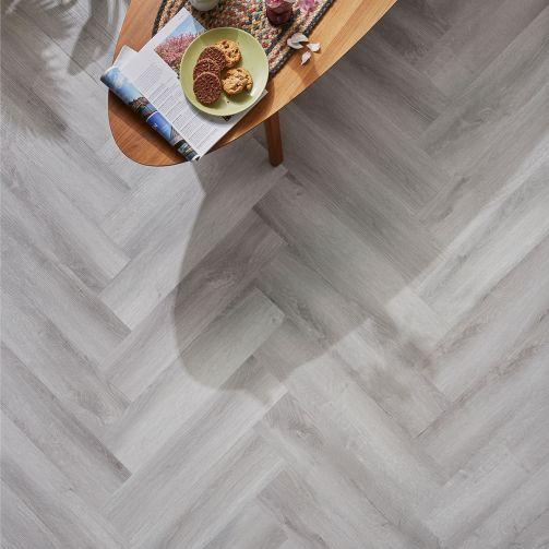 Naturelle Pale Silver Oak Herringbone SPC Rigid Core Click Vinyl Flooring