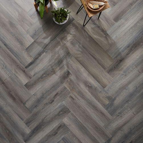 Naturelle Smoked Grey Oak Herringbone SPC Rigid Core Click Vinyl Flooring
