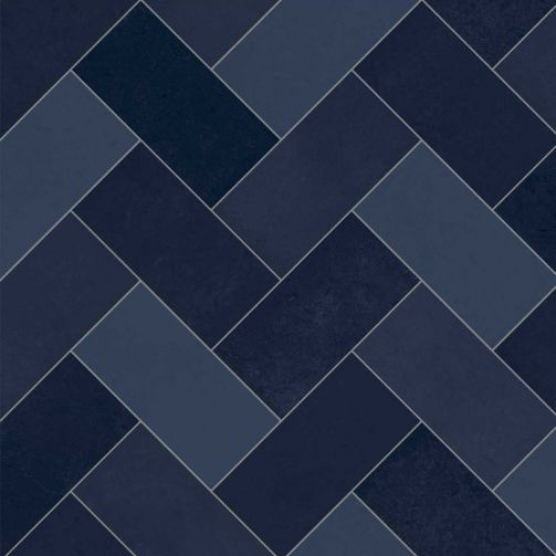 Premier Sheet Vinyl Flooring Geometric Navy Blue Herringbone Tile