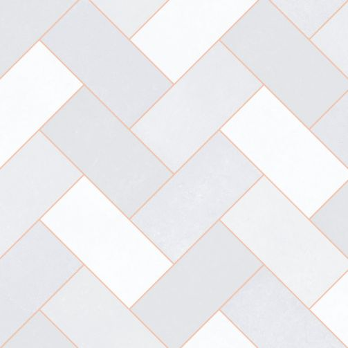 Premier Sheet Vinyl Flooring Geometric Pale Grey Rose Gold Herringbone Tile