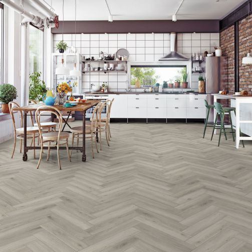 Prestige Timbers® 8mm Herringbone Laminate Flooring Hygge Wood Grey