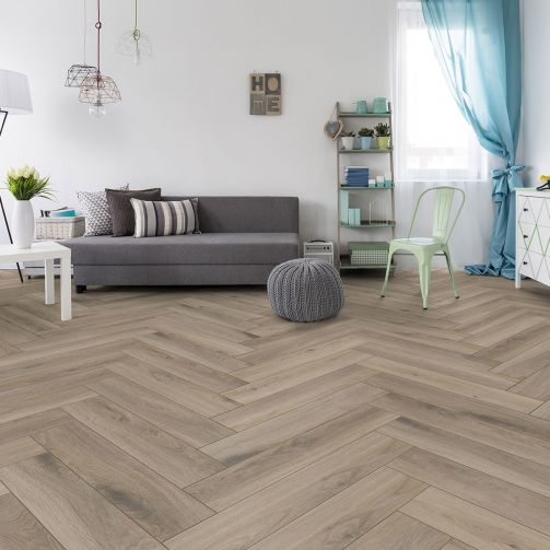 Prestige Timbers® 8mm Herringbone Laminate Flooring Taupe Wood