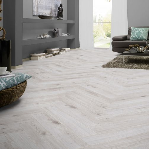 Prestige Timbers® 8mm Herringbone Laminate Flooring White Washed Timber