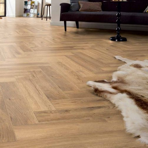 Prestige Timbers® 8mm Herringbone Laminate Flooring Feature Oak