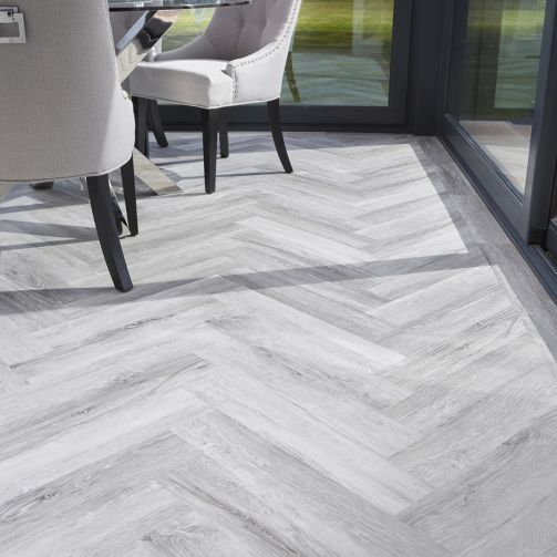 Signature Select Parquet Herringbone Luxury Vinyl Flooring Silver Wood SSP-010
