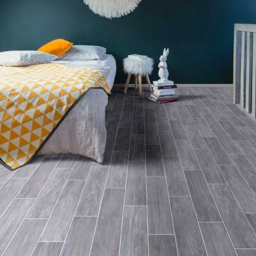 Supreme Sheet Vinyl Flooring Ceramic Tile Style Grey Plank