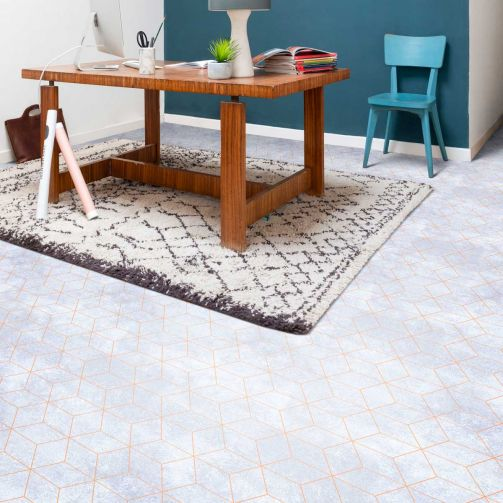 Supreme Sheet Vinyl Flooring Geometric Prism White / Rose Gold