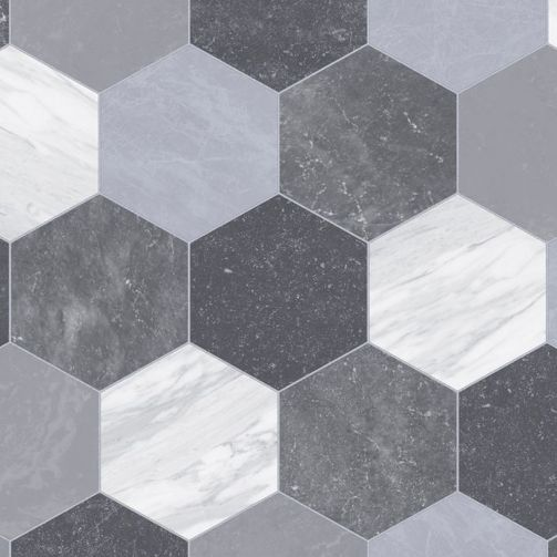 Supreme Sheet Vinyl Flooring Geometric Hexagon Grey