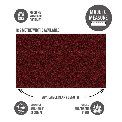 Washable Door Mat Cut to Size Red